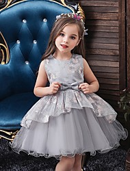 cheap -Princess / Ball Gown Knee Length Wedding / Party Flower Girl Dresses - Tulle Sleeveless Jewel Neck with Bow(s) / Tier