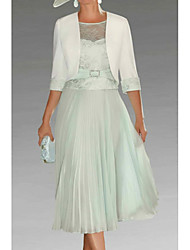 cheap -A-Line Mother of the Bride Dress Elegant Plus Size Jewel Neck Tea Length Chiffon Lace 3/4 Length Sleeve with Lace 2020