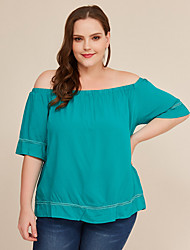 cheap -Women's Blouse Plus Size Solid Colored Tops Off Shoulder Daily Summer Green L XL 2XL 3XL 4XL