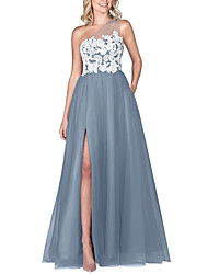 cheap -A-Line One Shoulder Floor Length Chiffon / Lace Bridesmaid Dress with Appliques / Split Front