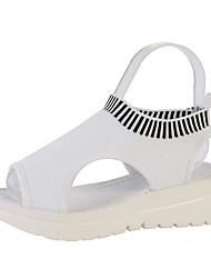 cheap -Women's Sandals 2020 Summer Flat Heel Peep Toe Preppy Daily Braided Tissage Volant White / Black / Blue
