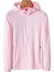 cheap -DZRZVD® Women's Hiking Jacket Summer Outdoor Solid Color Windproof Breathable Quick Dry Ultraviolet Resistant Top Elastane Single Slider Fishing Climbing Beach White / Pink / Orange / Rose Red