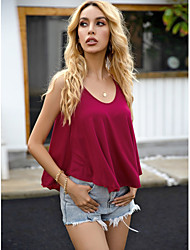 cheap -Women's Camisole Solid Colored Tops Boat Neck Daily Red XS S M L