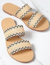 cheap -Women's Sandals Summer Flat Heel Peep Toe Daily Canvas Beige