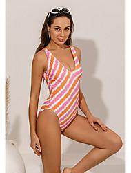 cheap -Women's Sexy Briefs One-piece Swimwear Swimsuit - Striped Print S M L Blushing Pink