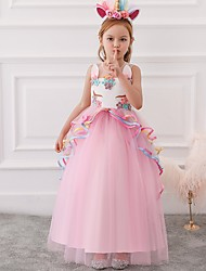 cheap -Princess / Ball Gown Floor Length Wedding / Party Flower Girl Dresses - Tulle Sleeveless Illusion Neck with Appliques / Cascading Ruffles