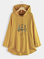 cheap -Women's Hoodie Character Casual Hoodies Sweatshirts  Cotton Loose Blue Yellow