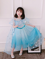 cheap -Fairytale Frozen Dress Girls' Movie Cosplay Cosplay European Vacation Dress Blue / Pink Dress Children's Day Polyester Cotton