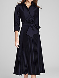 cheap -A-Line Mother of the Bride Dress Elegant Queen Anne Ankle Length Satin Long Sleeve with Bow(s) Pleats 2020