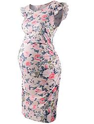 cheap -Women's Sheath Dress Knee Length Dress - Short Sleeves Floral Summer Casual 2020 Blushing Pink S M L XL