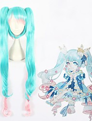cheap -Cosplay Wig Snow Miku 2019 Vocaloid Curly Cosplay With 2 Ponytails With Bangs Wig Very Long Blue Synthetic Hair 47 inch Women's Anime Cosplay Ombre Hair Blue