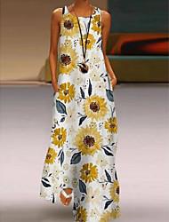 cheap -Women's A-Line Dress Maxi long Dress - Sleeveless Floral Summer Casual Mumu Holiday Vacation Loose 2020 Apricot Purple Yellow Blushing Pink Light Green Gray Light Blue S M L XL XXL