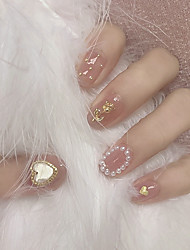 cheap -24pcs False Nails Oval Gold Heart Fake Nail Piece Manicure Paste 3D Rhinestones Artificial Nail Tips Finished Nail Piece Paste