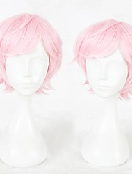 cheap -Cosplay Wig Sakisaka Muku Curly Cosplay Halloween With Bangs Wig Short Pink Synthetic Hair 14 inch Men's Anime Cosplay Party Pink
