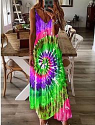 cheap -Women's Strap Dress Maxi long Dress - Sleeveless Print Summer Casual Chinoiserie 2020 Blue Purple Red Light Green Light Blue S M L XL XXL XXXL XXXXL XXXXXL