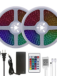 cheap -Bright RGB LED Strip Lights 32.8ft 10M Waterproof RGB Tiktok Lights 1200LEDs SMD 5050 with 24 Keys IR Remote Controller and 100-240V Adapter for Home Bedroom Kitchen TV Back Lights DIY Deco