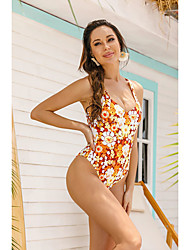 cheap -Women's Sexy Briefs One-piece Swimwear Swimsuit - Floral Print S M L Orange