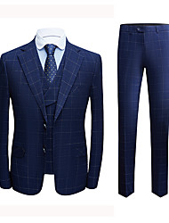 cheap -Tuxedos Tailored Fit Notch Single Breasted Two-buttons Polyester Plaid / Check / British / Fashion