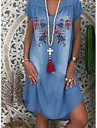 cheap -Women's Denim Dress Knee Length Dress - Short Sleeves Floral Print Summer V Neck Casual Daily 2020 Blue M L XL XXL XXXL