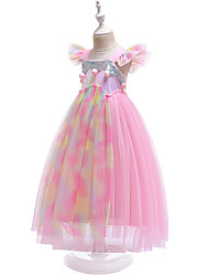 cheap -Princess Unicorn Dress Flower Girl Dress Girls' Movie Cosplay Pink Dress Polyester