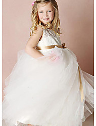 cheap -A-Line Floor Length Party / Wedding Flower Girl Dresses - Lace / Satin / Tulle Sleeveless Jewel Neck with Bow(s) / Solid