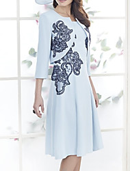 cheap -Two Piece A-Line Mother of the Bride Dress Elegant Jewel Neck Knee Length Satin 3/4 Length Sleeve with Pleats Pattern / Print 2020