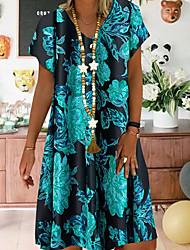 cheap -Women's A-Line Dress Knee Length Dress - Short Sleeves Floral Summer Work 2020 Blue Gold S M L XL XXL XXXL XXXXL XXXXXL