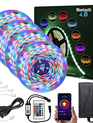 cheap -ZDM  20M (4*5M) App Intelligent Control Bluetooth Music Sync Flexible Led Strip Lights Waterproof 2835 RGB SMD 1080 LEDs IR 24 Key Bluetooth Controller with 12V Adapter Kit
