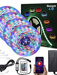 cheap -ZDM  20M (4*5M) App Intelligent Control Bluetooth Music Sync Flexible Led Strip Lights Waterproof 2835 RGB SMD 1080 LEDs IR 24 Key Bluetooth Controller with 12V Adapter Kit