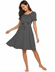 cheap -Women's A-Line Dress Knee Length Dress - Short Sleeves Striped Summer Casual Chinoiserie 2020 Black Dark Gray S M L XL XXL