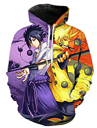 cheap -Inspired by Naruto Naruto Uzumaki Uchiha Sasuke Cosplay Costume Hoodie Polyster Print Printing Hoodie For Men's / Women's