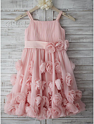 cheap -A-Line Knee Length Holiday Flower Girl Dresses - Chiffon Sleeveless Straps with Sash / Ribbon / Bow(s) / Draping