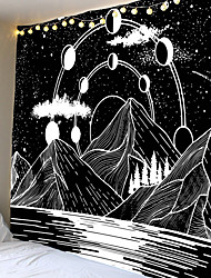 cheap -Home Living Tapestry Wall Hanging Tapestries Wall Blanket Wall Art Wall Decor Forest Black White Mountain Tapestry Wall Decor