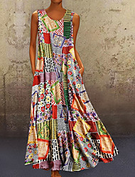 cheap -Women's A-Line Dress Maxi long Dress Sleeveless Tribal Print Summer Hot Casual Mumu 2021 Khaki M L XL XXL 3XL 4XL 5XL