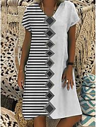 cheap -Women's A-Line Dress Knee Length Dress - Short Sleeves Striped Check Print Summer V Neck Casual Boho Daily Vacation 2020 Gray M L XL XXL XXXL