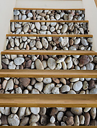 cheap -6pcs/set 3D Cobblestone Stair Riser Floor Sticker Self Adhesive DIY Stairway Waterproof PVC Wall Decal Home Decor