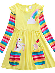 cheap -Kids Girls' Sweet Unicorn Cartoon Embroidered Long Sleeve Knee-length Dress Yellow