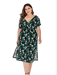 cheap -Women's A-Line Dress Knee Length Dress - Short Sleeves Print Summer Casual Sexy 2020 Green XL XXL XXXL XXXXL XXXXXL