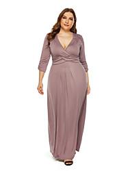 cheap -Women's Sheath Dress Maxi long Dress - 3/4 Length Sleeve Solid Color Fall Sexy 2020 Wine Black Blue Khaki L XL XXL XXXL