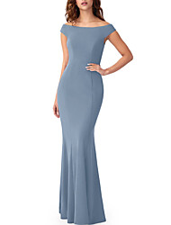 cheap -Sheath / Column Off Shoulder Floor Length Stretch Satin Bridesmaid Dress with Pleats