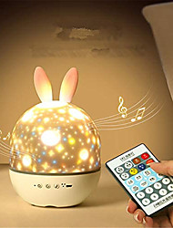 cheap -LED Projector Night Light Rabbit Moose Rotating Projection Lamp with Remote for Baby Kids Room Baby Sleep Lighting Night Scape Lighting Christmas Gift Toy