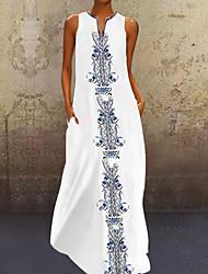 cheap -Women's Shirt Dress Maxi long Dress - Sleeveless Print V Neck White Yellow Blushing Pink S M L XL XXL XXXL XXXXL XXXXXL