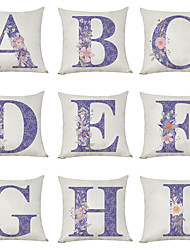 cheap -9 pcs Linen Pillow Cover, Floral English Character A-I Casual Modern Square Traditional Classic