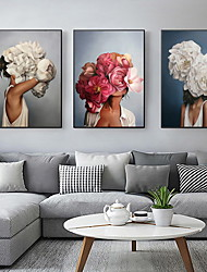 cheap -Flowers Feathers Woman Abstract Canvas Painting Wall Art Print Poster Picture Decorative Painting Living Room Home Decoration