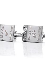 cheap -Personalized Customized Men's Cufflink Set Geometrical Geometric 1pc / pack Silver