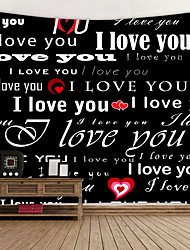 cheap -Valentine's Day Wall Tapestry Art Decor Blanket Curtain Hanging Home Bedroom Living Room Decoration Love Graffiti