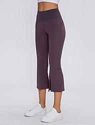 cheap -Women's High Waist Yoga Pants Wide Leg Capri Pants Butt Lift Breathable Moisture Wicking Black Purple Gray Nylon Non See-through Yoga Running Fitness Sports Activewear High Elasticity