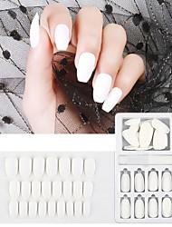 cheap -24pcs Plastics Matte Ergonomic Design Simple Basic Daily Festival Artificial Nail Tips for Finger Nail / Romantic Series