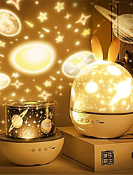 cheap -LED Projector Night Light Charging Rotating Projection Nightscape Lamp with Rabbit Ears Christmas Gift for Baby Kids Room Bedside Lamp