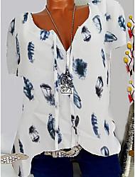 cheap -Women's Print Graphic Feather T-shirt V Neck White / Black / Blue / Blushing Pink / Army Green